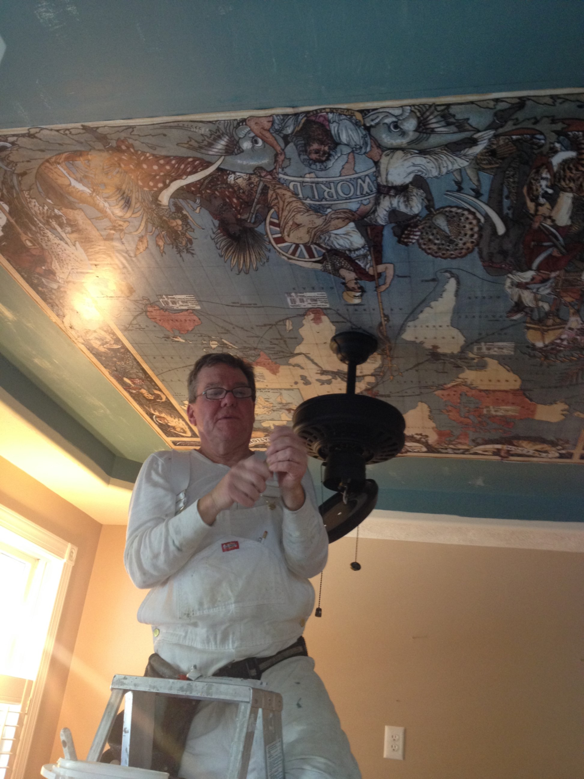 """Put the """"see"""" in ceiling with an old world map. Photo courtesy of Rebecca Beck, Interior Desigtner"""
