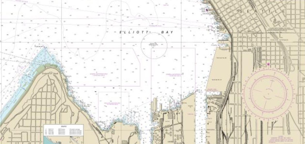 NOAA Nautical Chart of Elliott Bay and Seattle