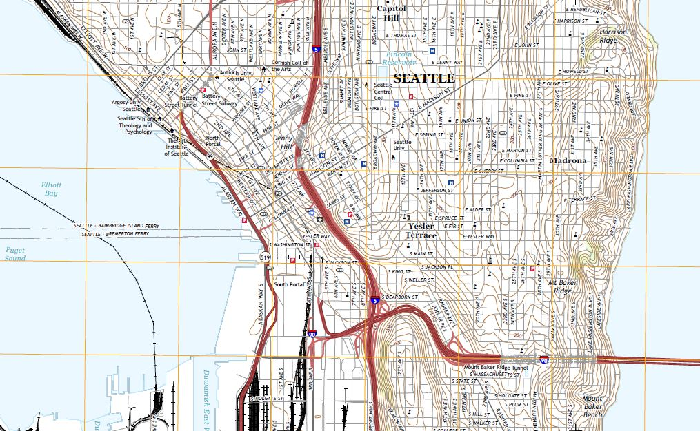 A Topographical Map of South Seattle