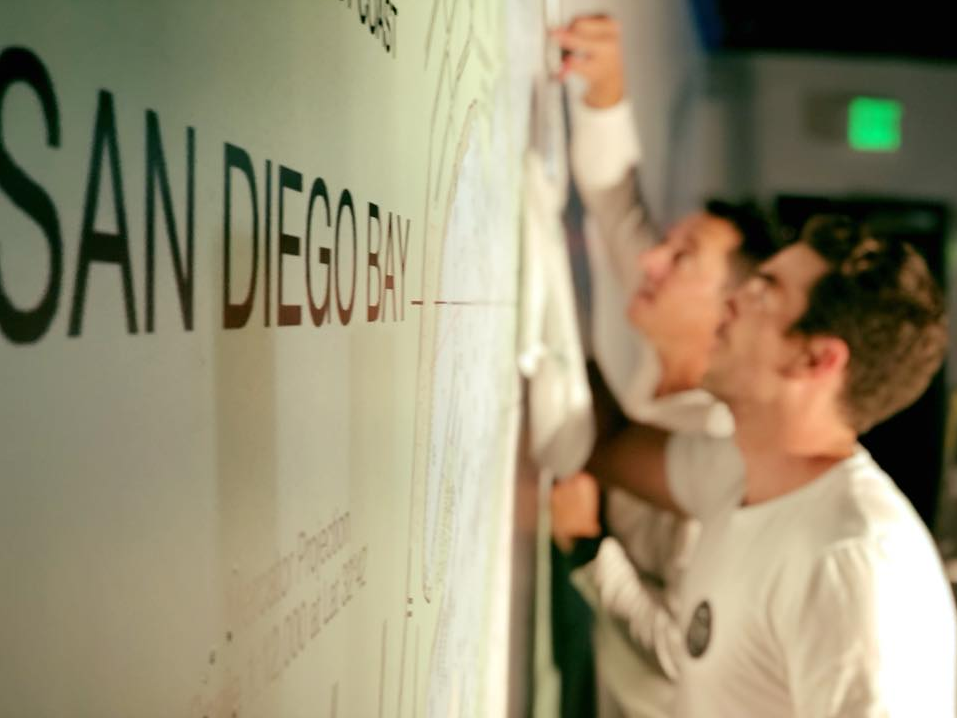 """The San Diego Goodbar Gang, just """"hanging around"""" -- a Nautical Chart Mural, that is!"""