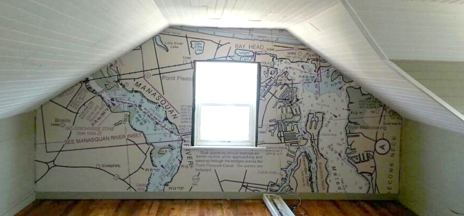 "Your not ""trapped"" in a trapezoid wall! A Nautical Chart mural brings it life!"