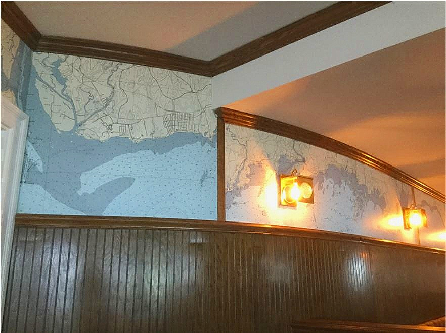 Madison Hotel - The dark wainscoting contrasted beautifully against the chart. Great Idea.