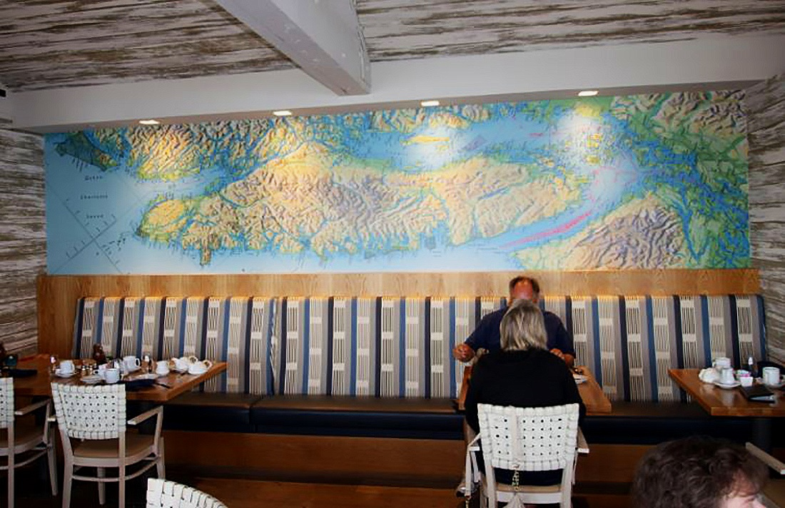 Semiahmoo Resort in Blaine Washington chose this watercolor effect mural of Vancouver Island in their restaurant.