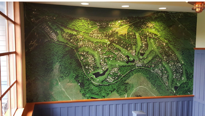 Semiahmoo resort in Blaine Washington has their golf course printed on their wall. You could do the same.