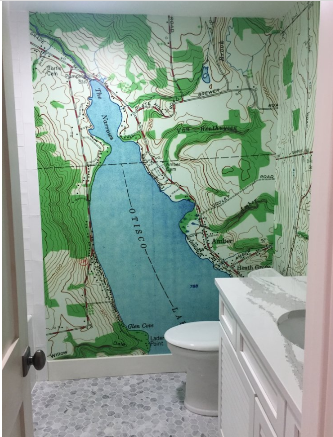 Topographical maps make great murals. Access them from USGS store. This one has been colorized.