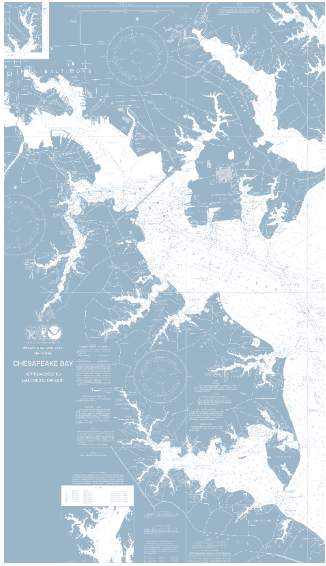 Chesapeake Bay - The client wanted reverse color on this chart. The outcome was spectacular.