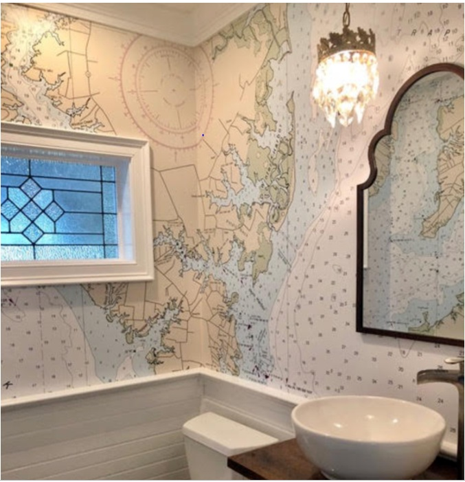 Bathrooms are great areas for Nautical Chart Wallpaper, but the designs are complicated. Our client's favorite areas must be in the most prominent place. There are lots of obstacles such as mirrors, doors and windows. Steve is the graphic wizard in those mathematical calculations. It is an art and a science, and no one does it better!