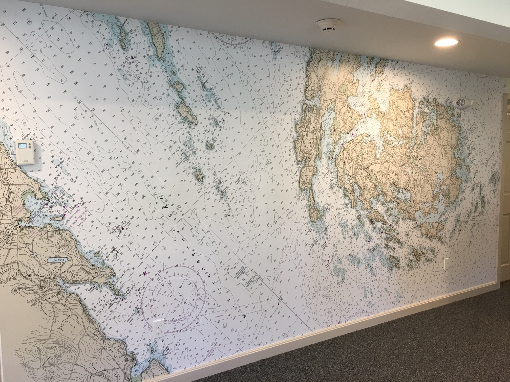 This fabulous mural is in Brimstone Consulting and presents an area from Camden to Brimstone Island. Paul Fagan and Whitney Zipser of Whitney Zipser Design created this stunning mural.