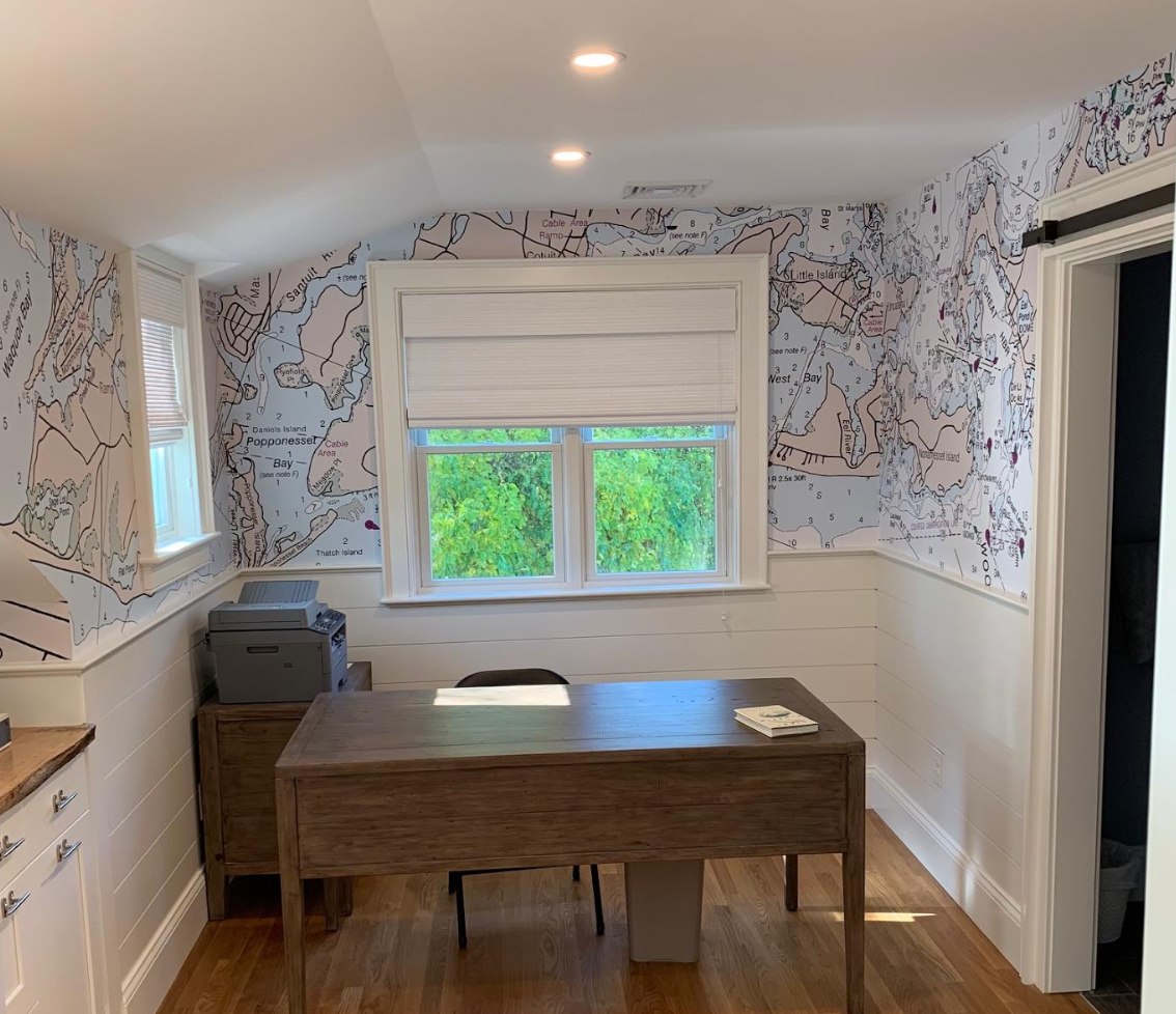 """Absolutely love the wallpaper - it looks stunning - my clients are THRILLED, especially after we simplified that one section. Thank you both for all of your work and help with this project! It came out even better than I expected!!!""     Thanks to Beth Champlin. Great design. Beth didn't like too much complexity on Woods Hole area. Steve cleaned it up and took out some detail. It was a great result."