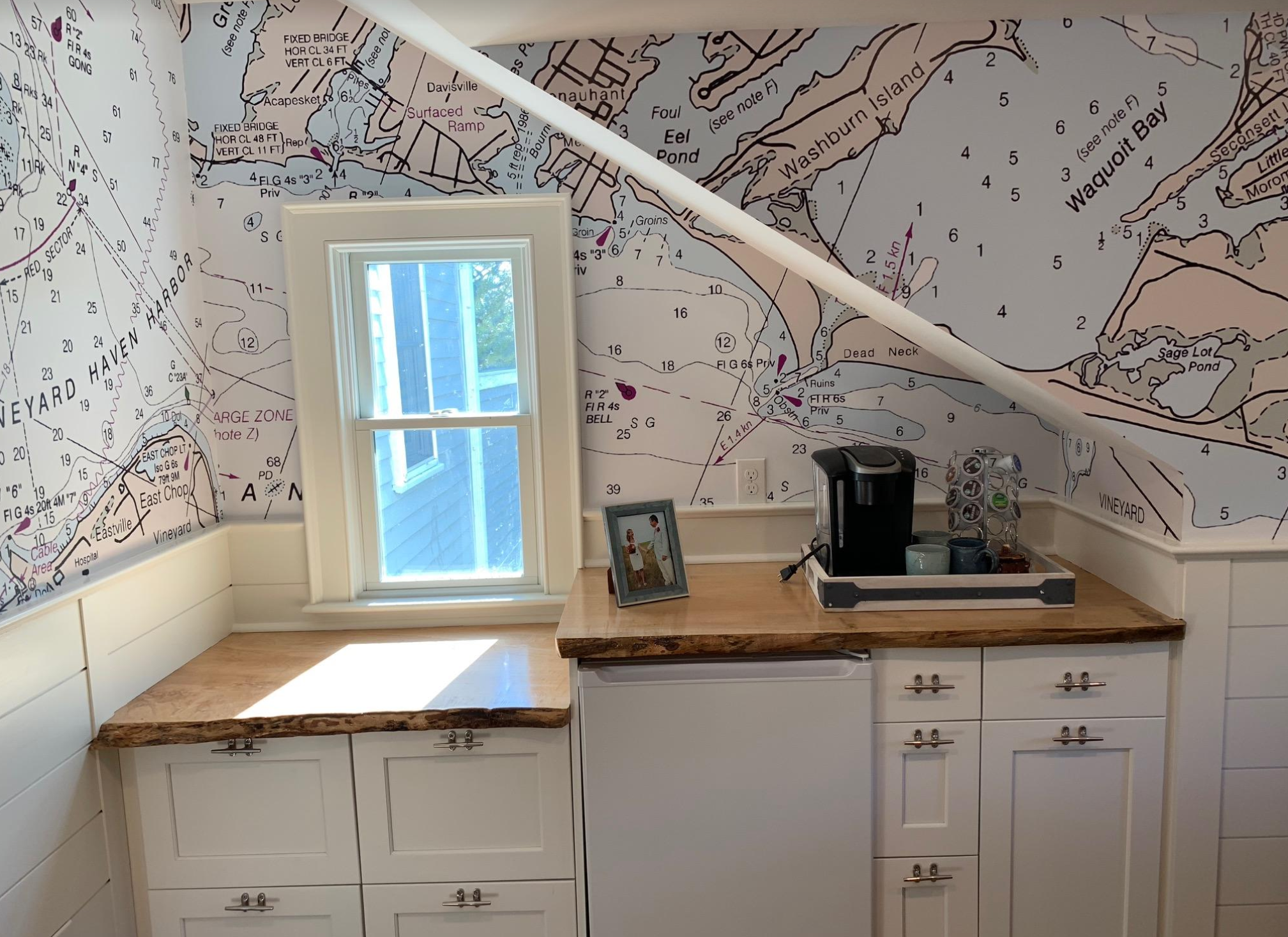 Another view of Beth's design in the little office. As you can see by the cutouts, and wall irregularities, this was a complex job. Everyone was hapy with the result.