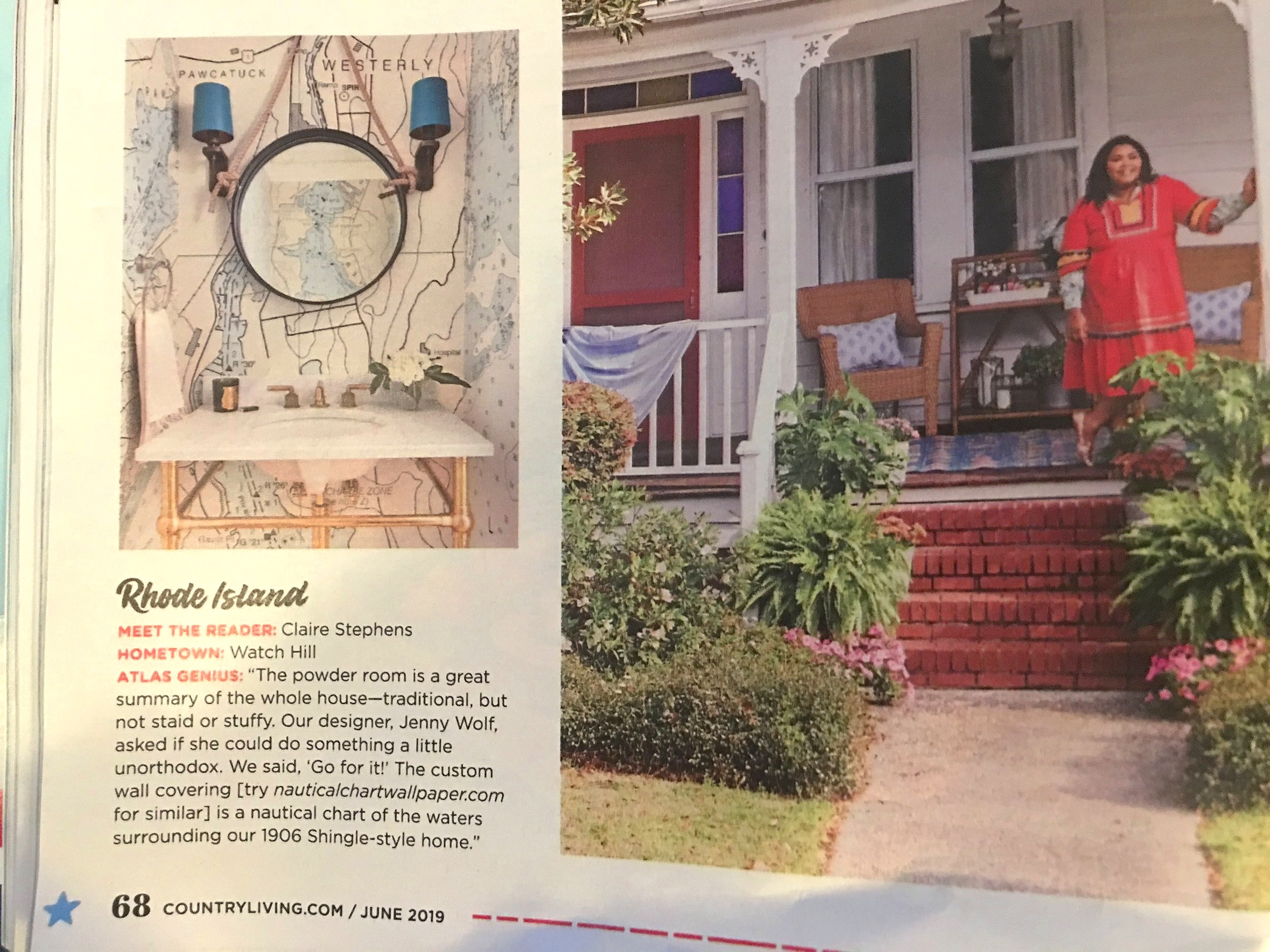 "Becca and Dakota with Jenny Wolf Interiors created this bathroom design using our wallpaper. It was fun for us to see our work in  Country Living Magazine  June 2019 . Thanks for the credit in your article! It looks great    The had some kind words for us: ""Hi Steve! You are so amazing!! I can't thank you enough! I can't wait to show you photos when installed and thank you again for all of your help!"""