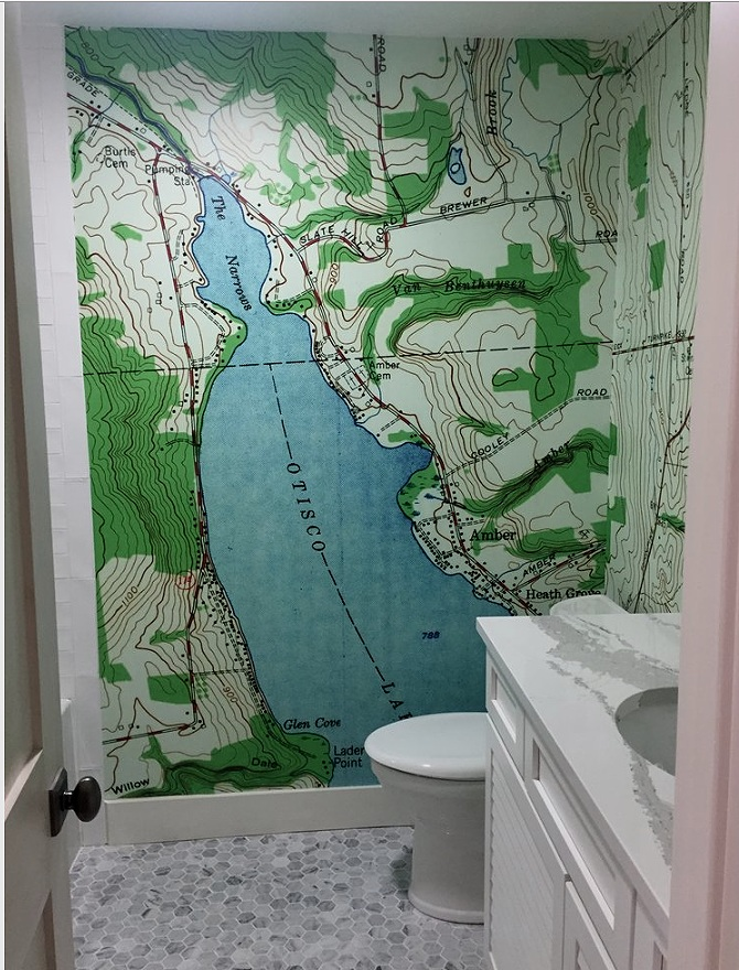 "Topographical maps are gaining in popularity as wall murals. They are available with no royalty at USGS.gov. go to the ""store"" and it is fairly easy from there."