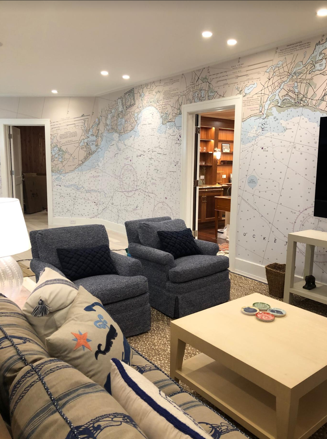 This project had five walls to cover with Nautical Chart Wallpaper.
