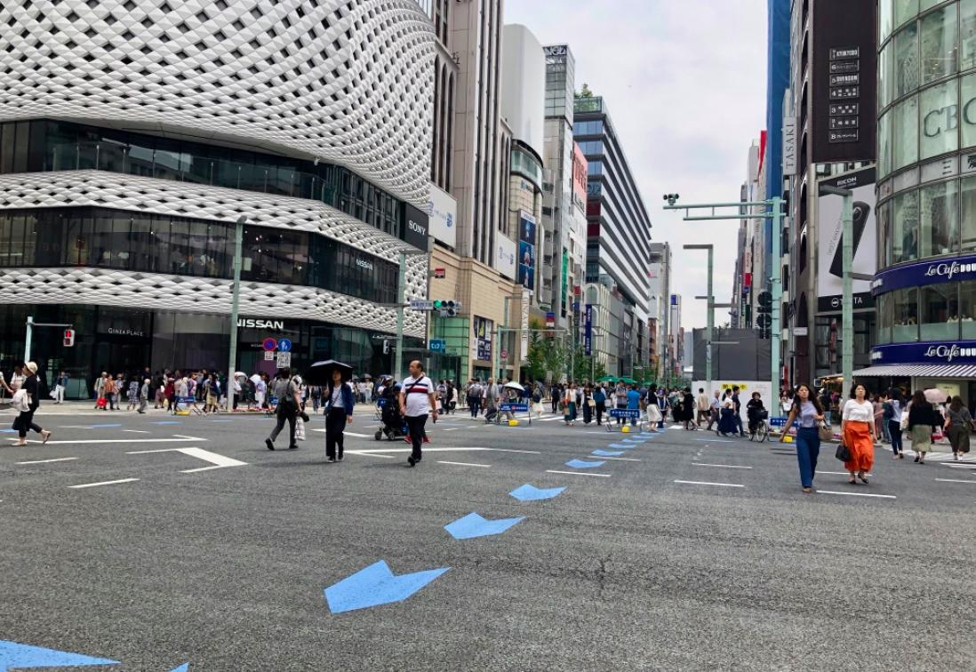 Ginza's pedestrian day.