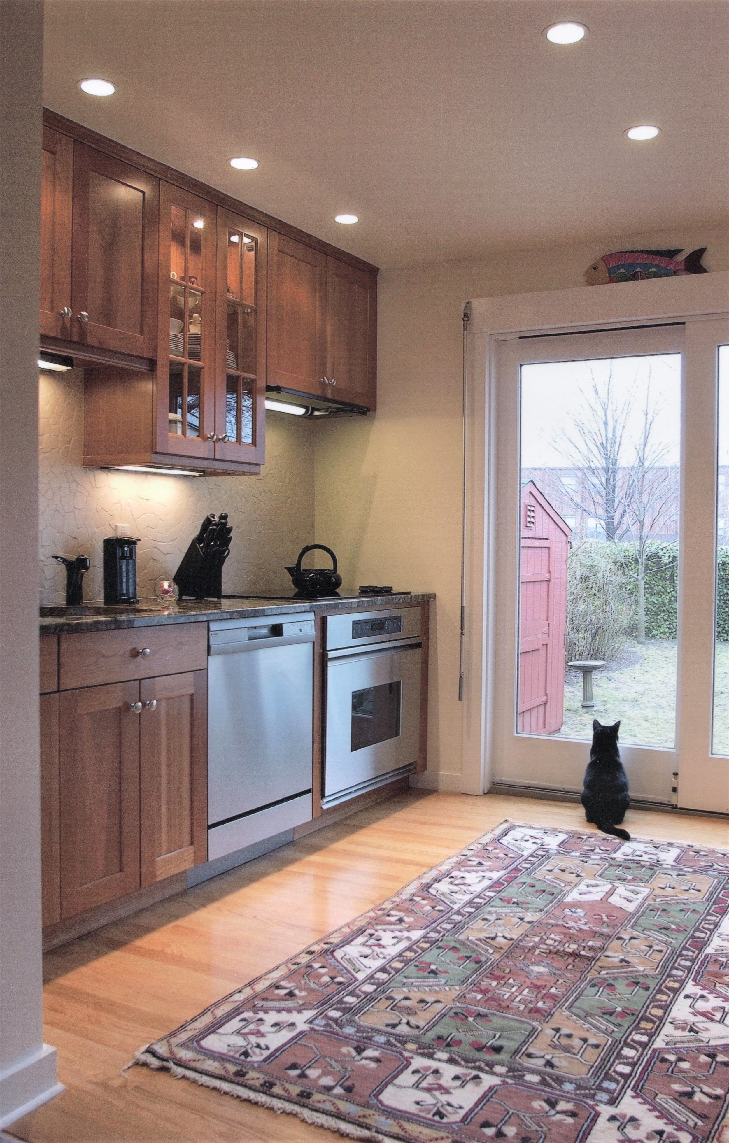 cherry mission cabinets, small galley kitchen