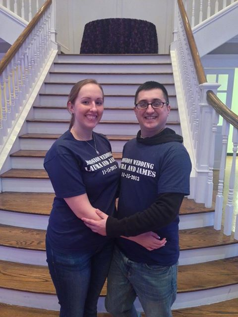Bride and Groom during the rehearsal dinner with their personalized Mission Wedding T-shirts