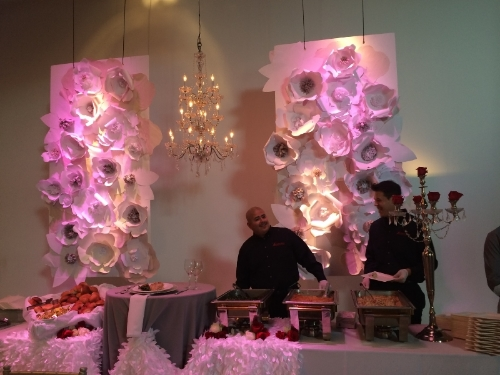 You can't tell in this photo, but this is an all white paper flower wall. GORGEOUS! In front is  Absolutely Delicious  Catering. Delicious!