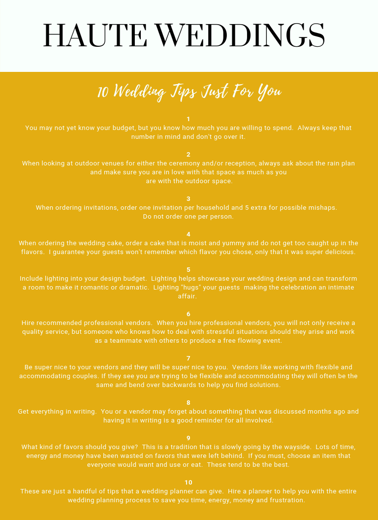 Top 10 Wedding Tips