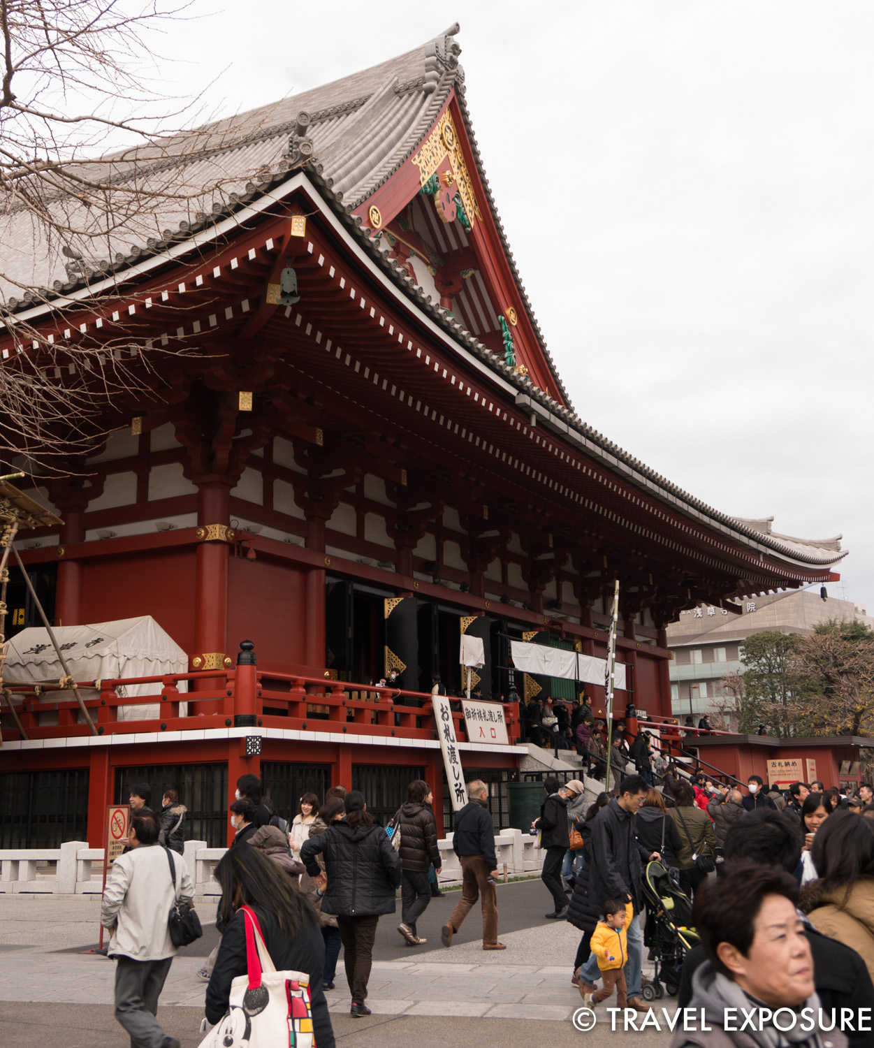 Side view of the Sensoji Temple, a Buddhist temple that honors Kannon, the Buddhist goddess of mercy and happiness.