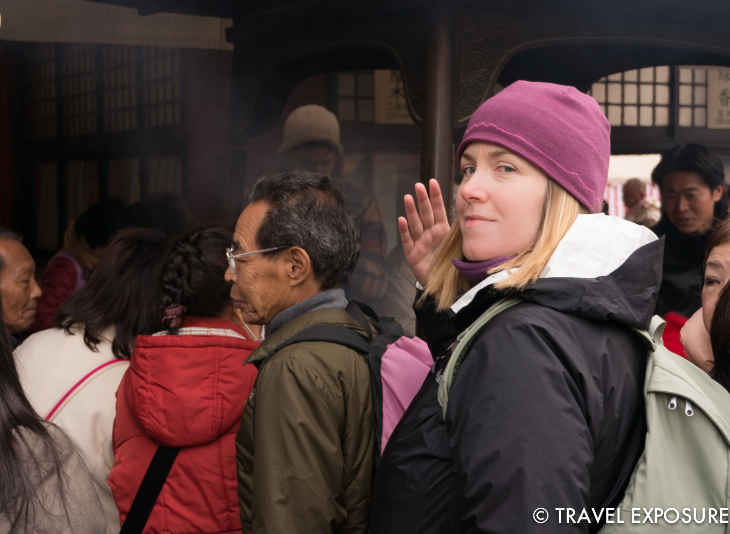 Just outside of the temple entrance, there is a large pot of incense being continuously burnt. People stop to waft the smoke over themselves which is thought to help heal ailments.