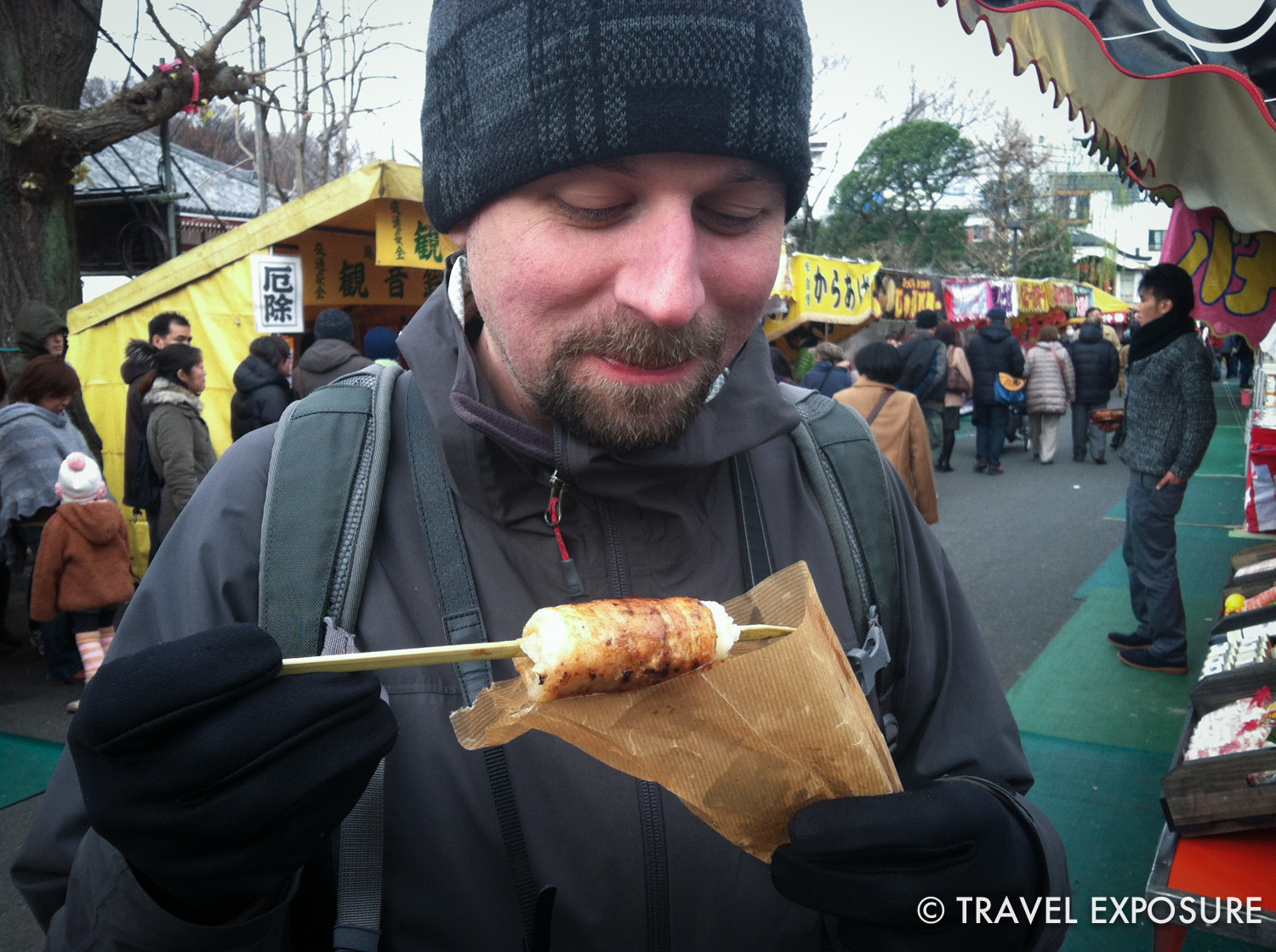 This was one of the best things that I ate in Tokyo. Rice on a stick wrapped in bacon, and grilled with a sweet sauce.