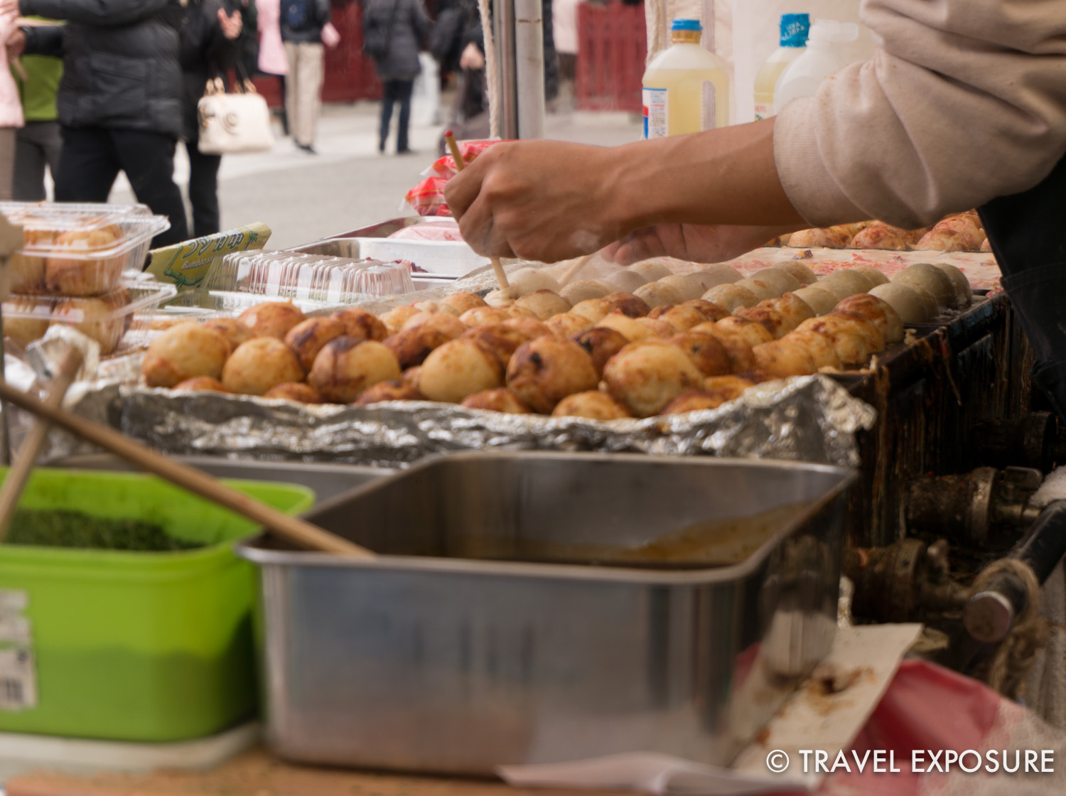 It was cool to watch the skill and dexterity of theTakoyaki cooks. They quickly flipped the battered balls over, or off to the side when done, using only chopsticks.