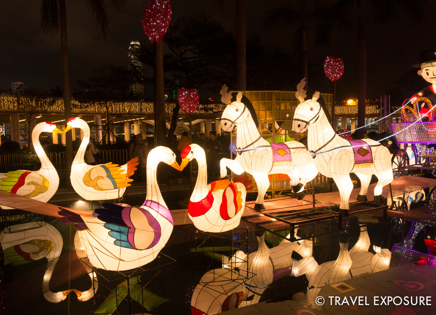 A cute love-themed lantern display as part of the Lantern Festival, marking the end of the Chinese New Year. This year it coincided with Valentine's Day.