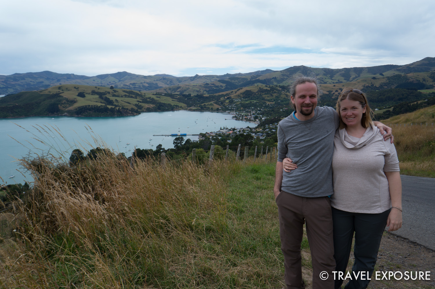 Overlooking Akaroa harbor, formed from a flooded ancient volcano