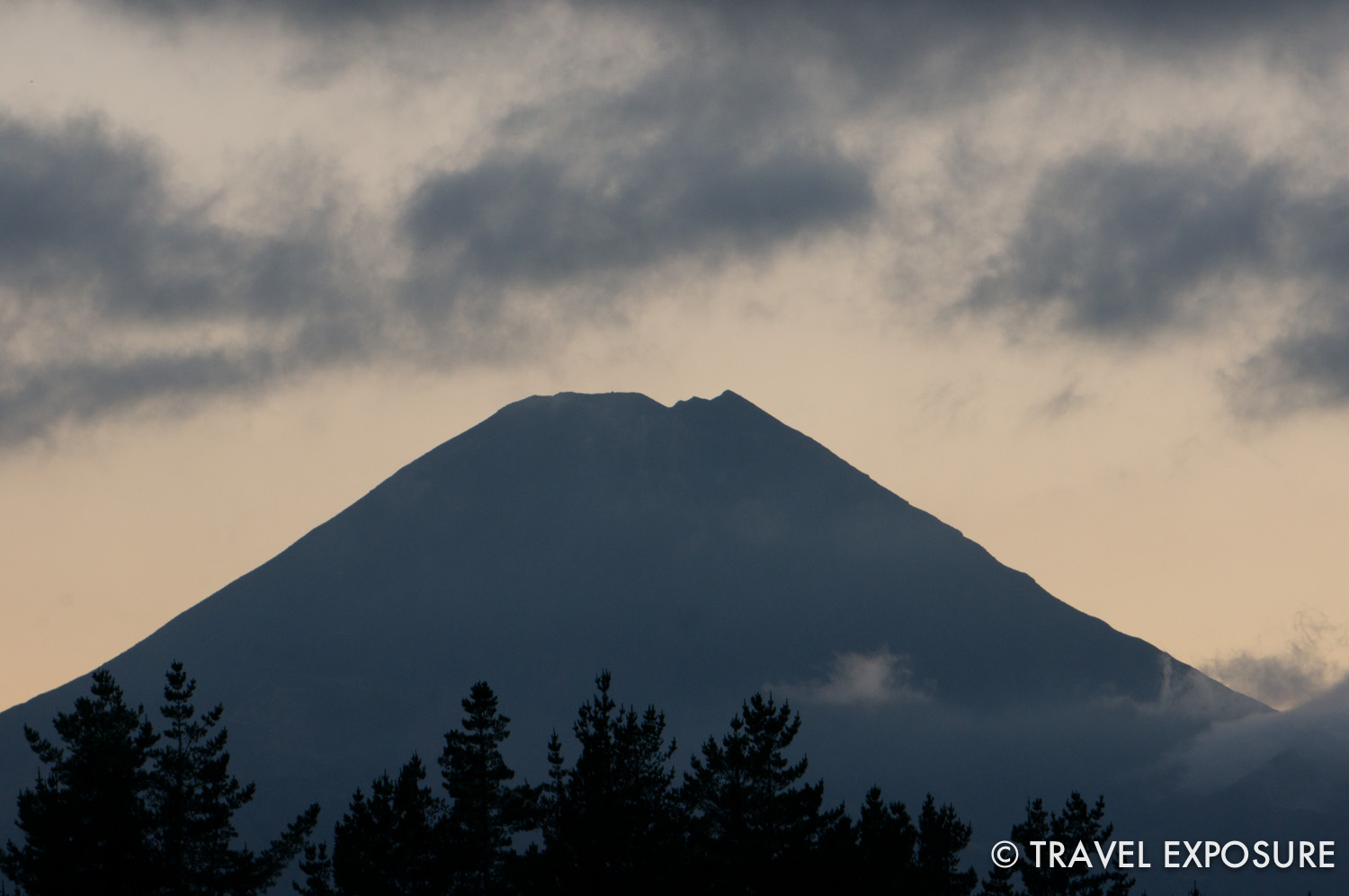 Mount Ngauruhoe at dawn, one of the three volcanos in the area of the crossing