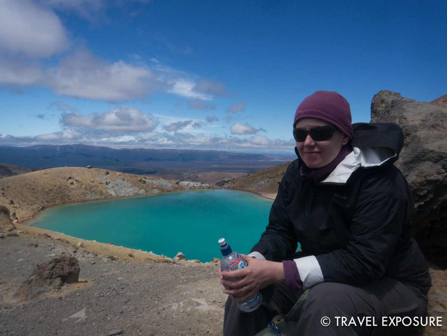 Tongariro Alpine Crossing Hike - smiling but not a happy hiker here