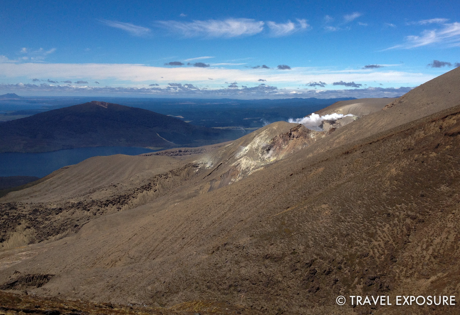 Tongariro Alpine Crossing Hike - you can see the Te Maari crater still smoking from the 2012 eruption