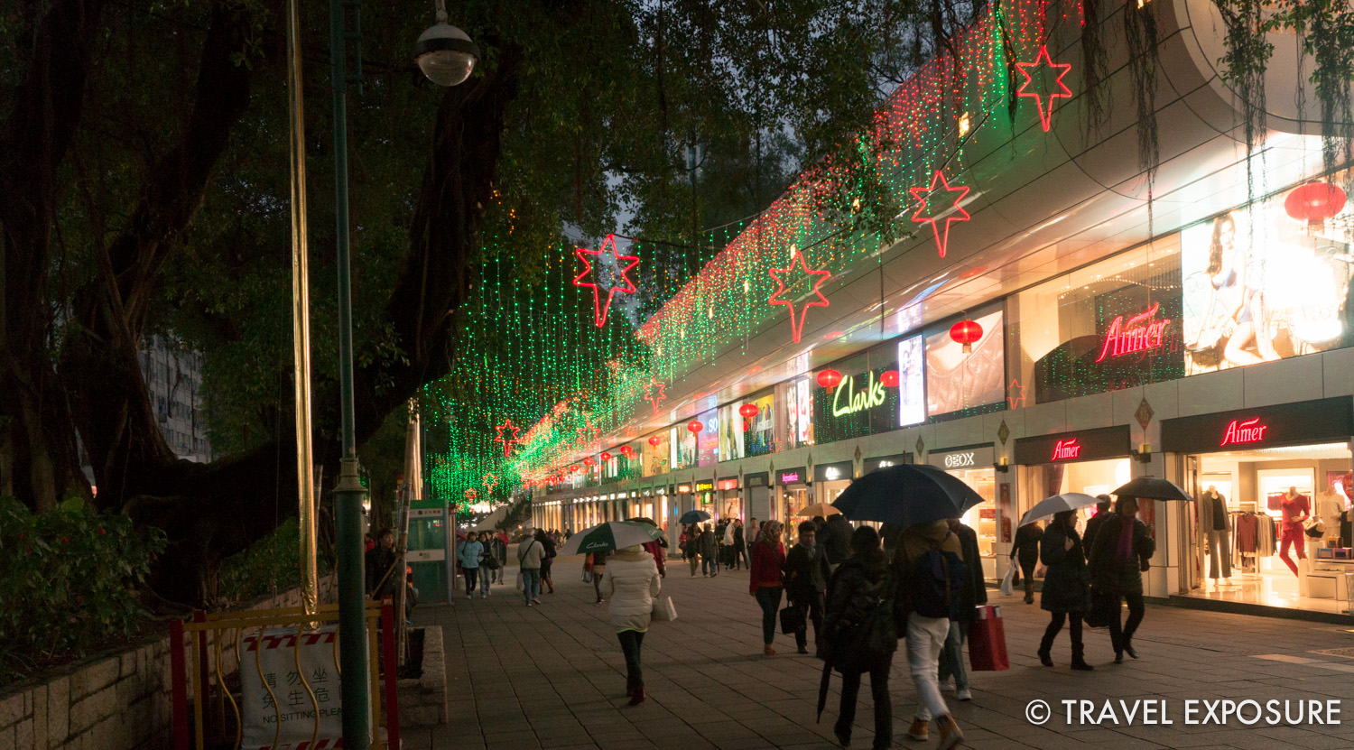 Colorful lights on the famous shopping street, Nathan Road