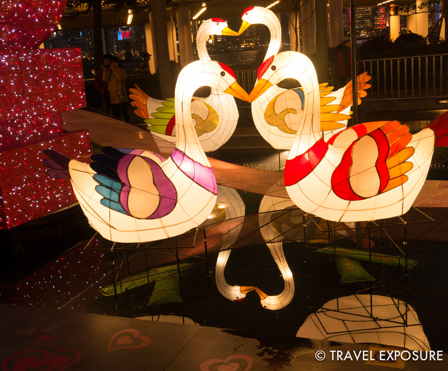 A cute love-themed lantern display as part of the Lantern Festival, marking the end of the Chinese New Year