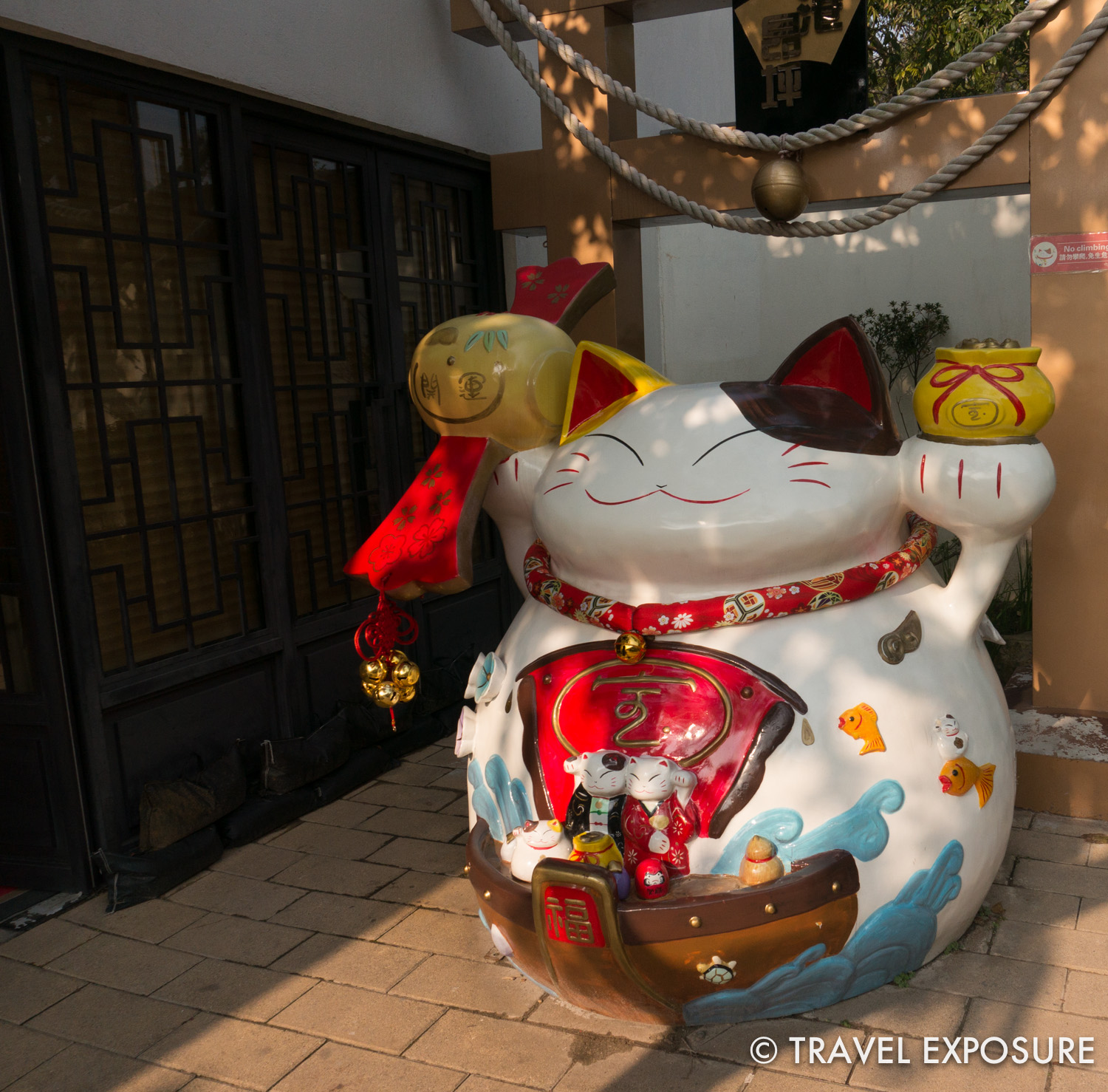 Lucky cat statue in Ngong Ping