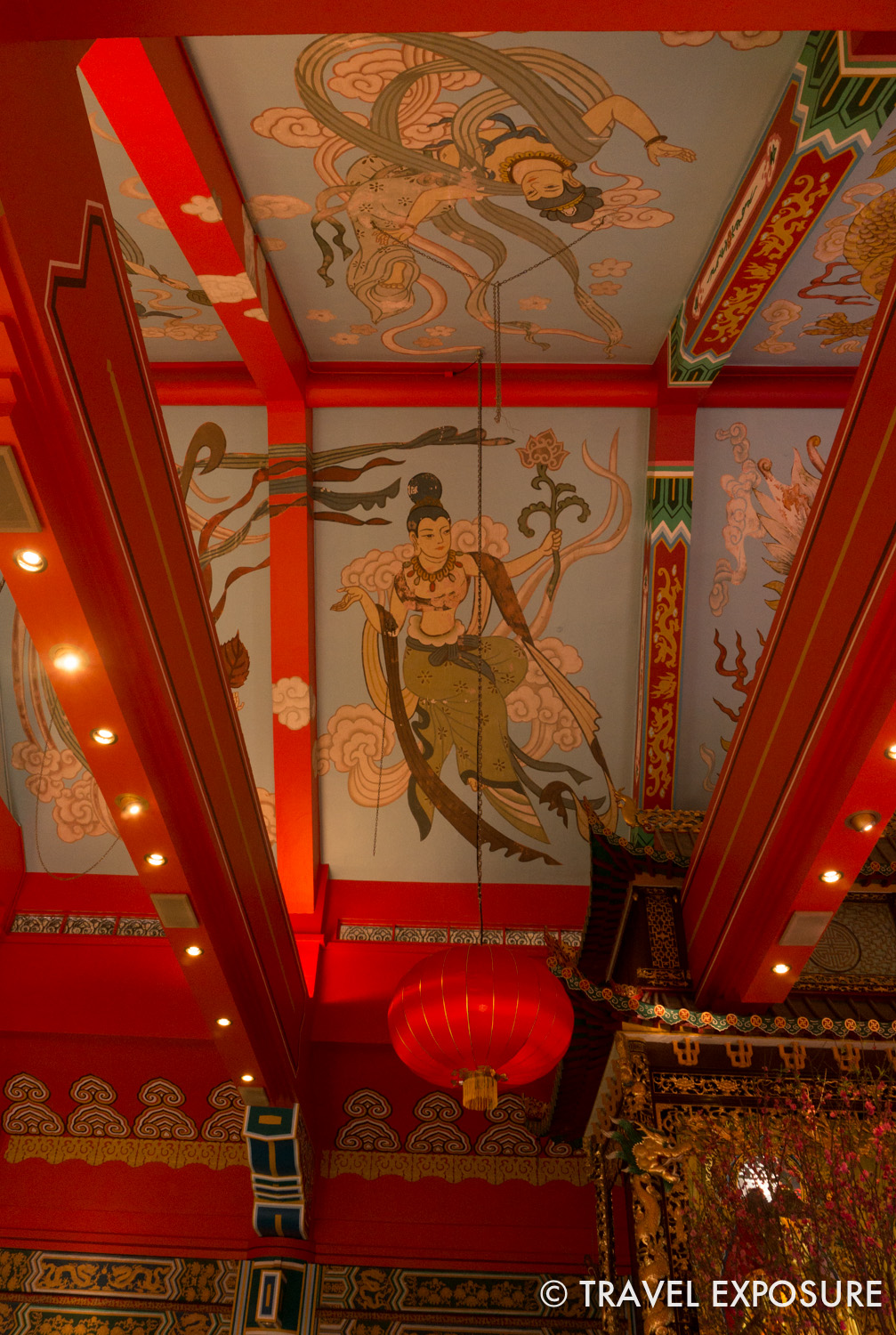 Figures painted on the ceiling of Po Lin Monastery in Ngong Ping