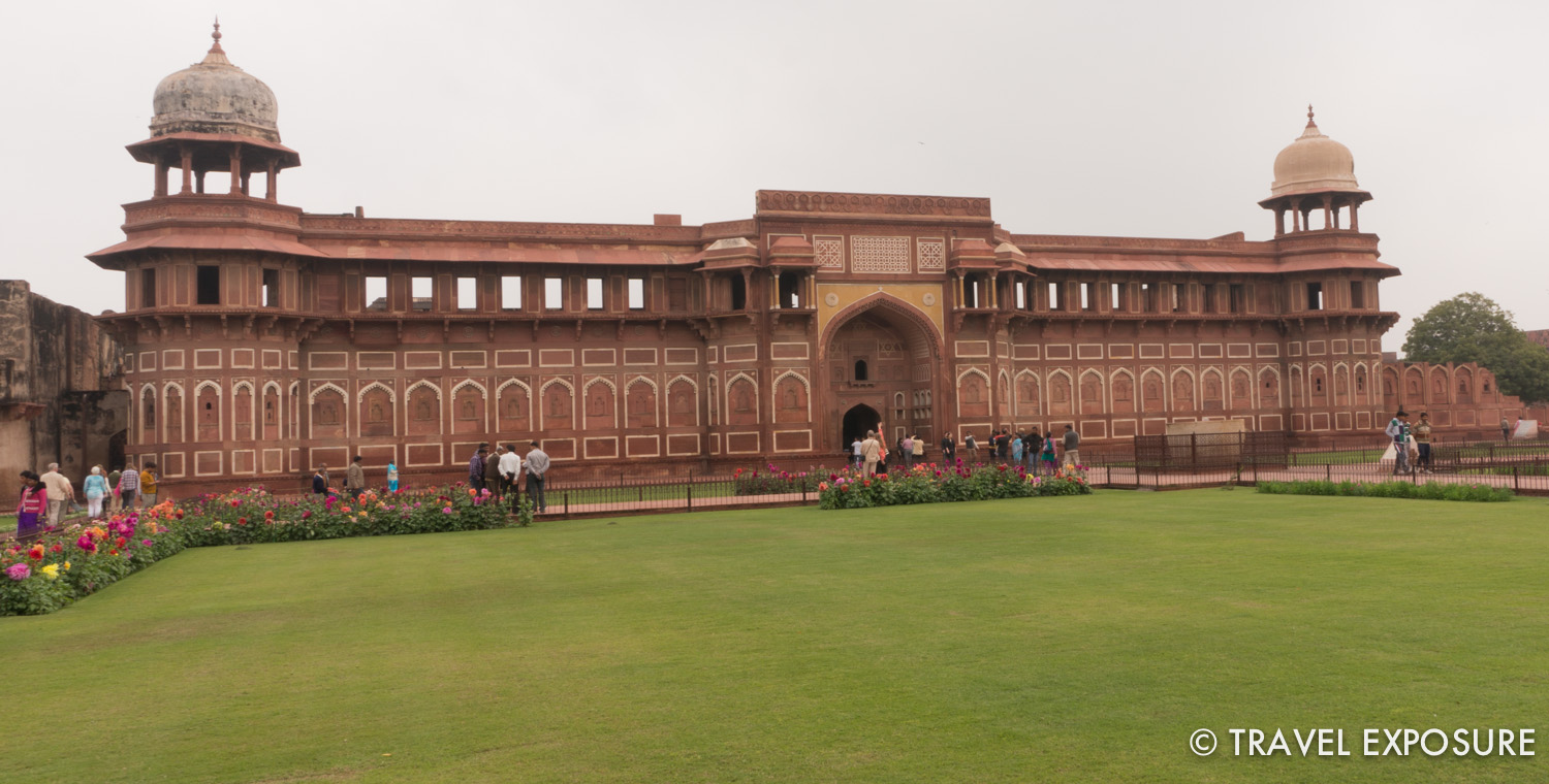 The Jehangiri Mahal at Agra Red Forthas an arched portal with two jharokhas(overhanging enclosed balconies). The primary function of the jharokha was to allow women to see the events outside, but also added to the architectural beauty of buildings.