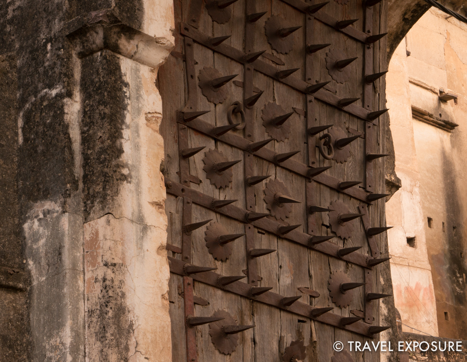 This door has spikes to prevent elephants from sneaking into your fort.
