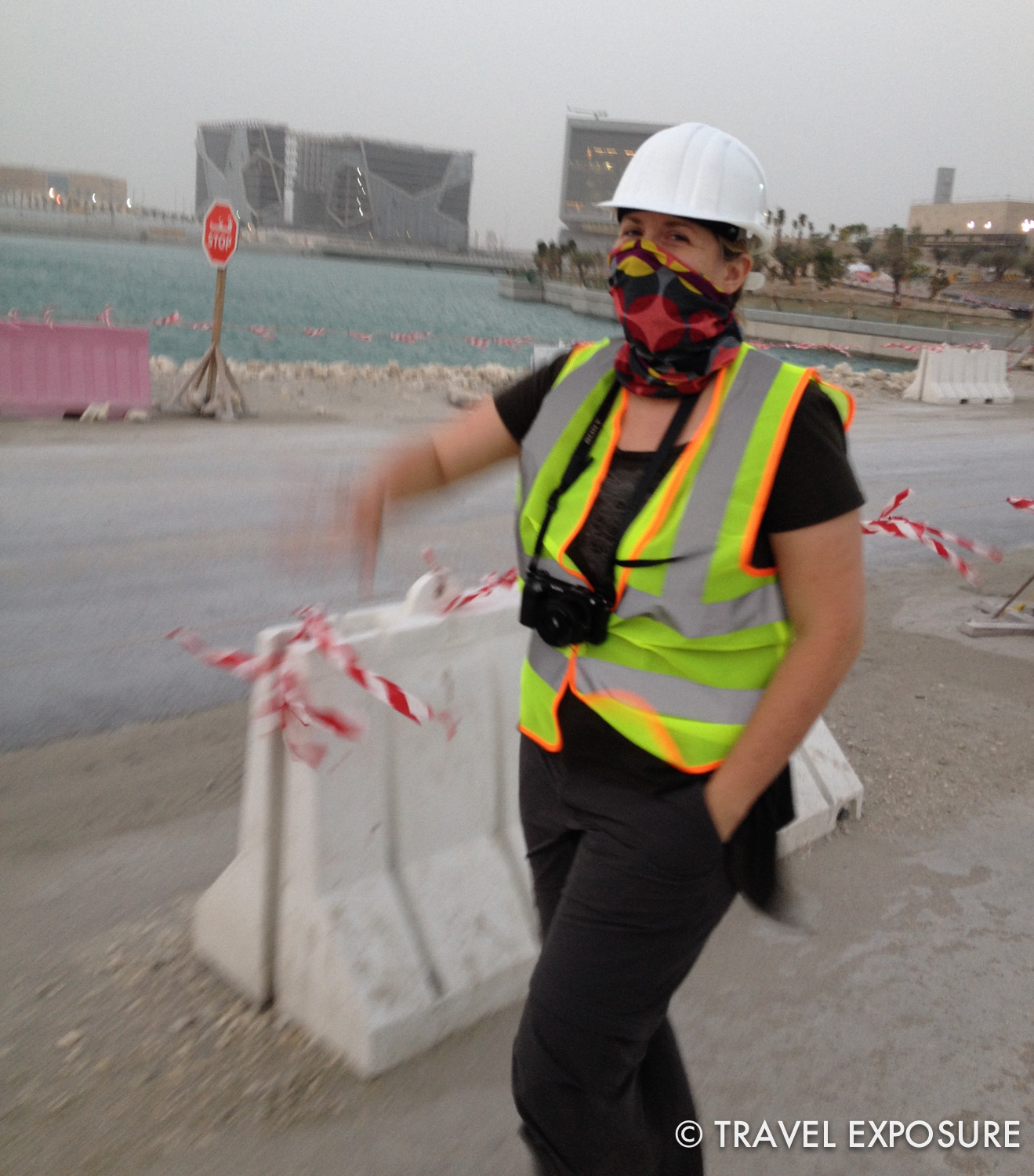 Beth ready for the constructions site and the sandstorm