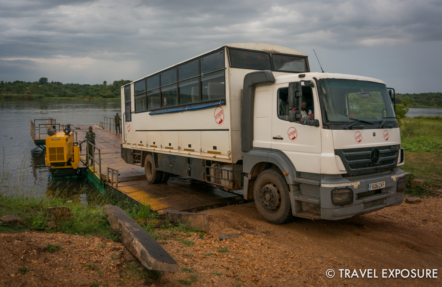 Our overland truck crossing the Nile.