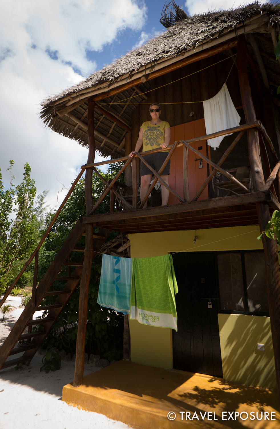 We stayed in this top floor bungalow in Paje at a cool backpacker place called Demani Lodge.
