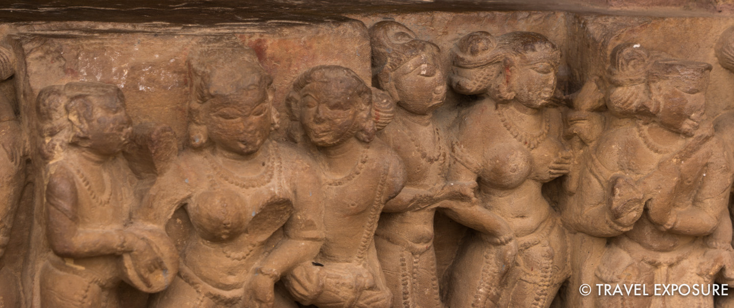 The   Hindu and Jain   temples at Khajuraho. Most were built between 950 and 1050. They are beautifully   decorated   and   famous for their erotic sculptures depicting scenes from the Kama Sutra. Notice that each woman has a unique hairstyle.