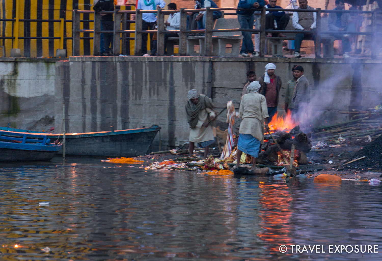 A cremation on the banks of the Ganges river in  Varanasi