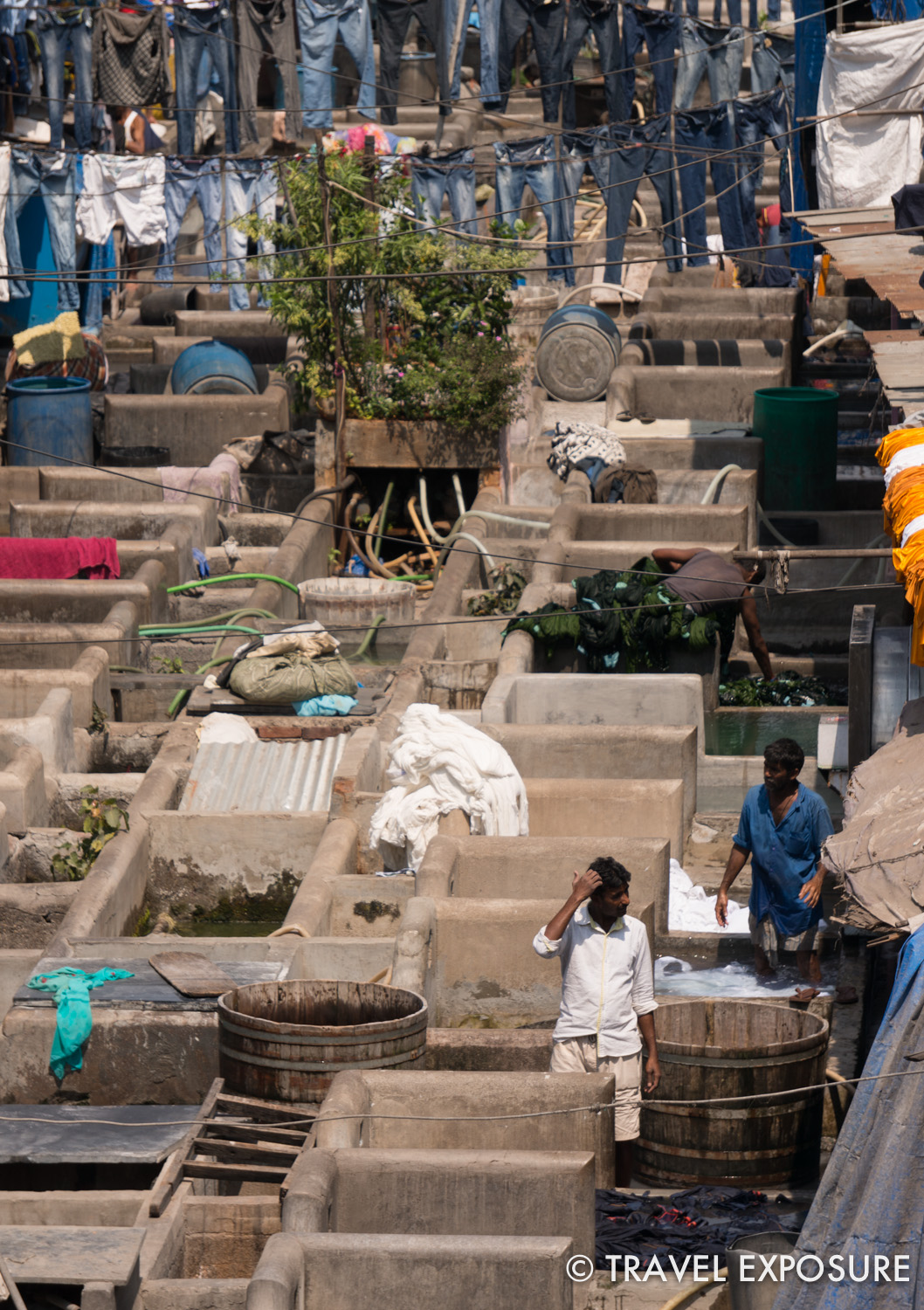 The Mahalaxmi dhobi ghat in Mumbai, the world's largest open air laundry