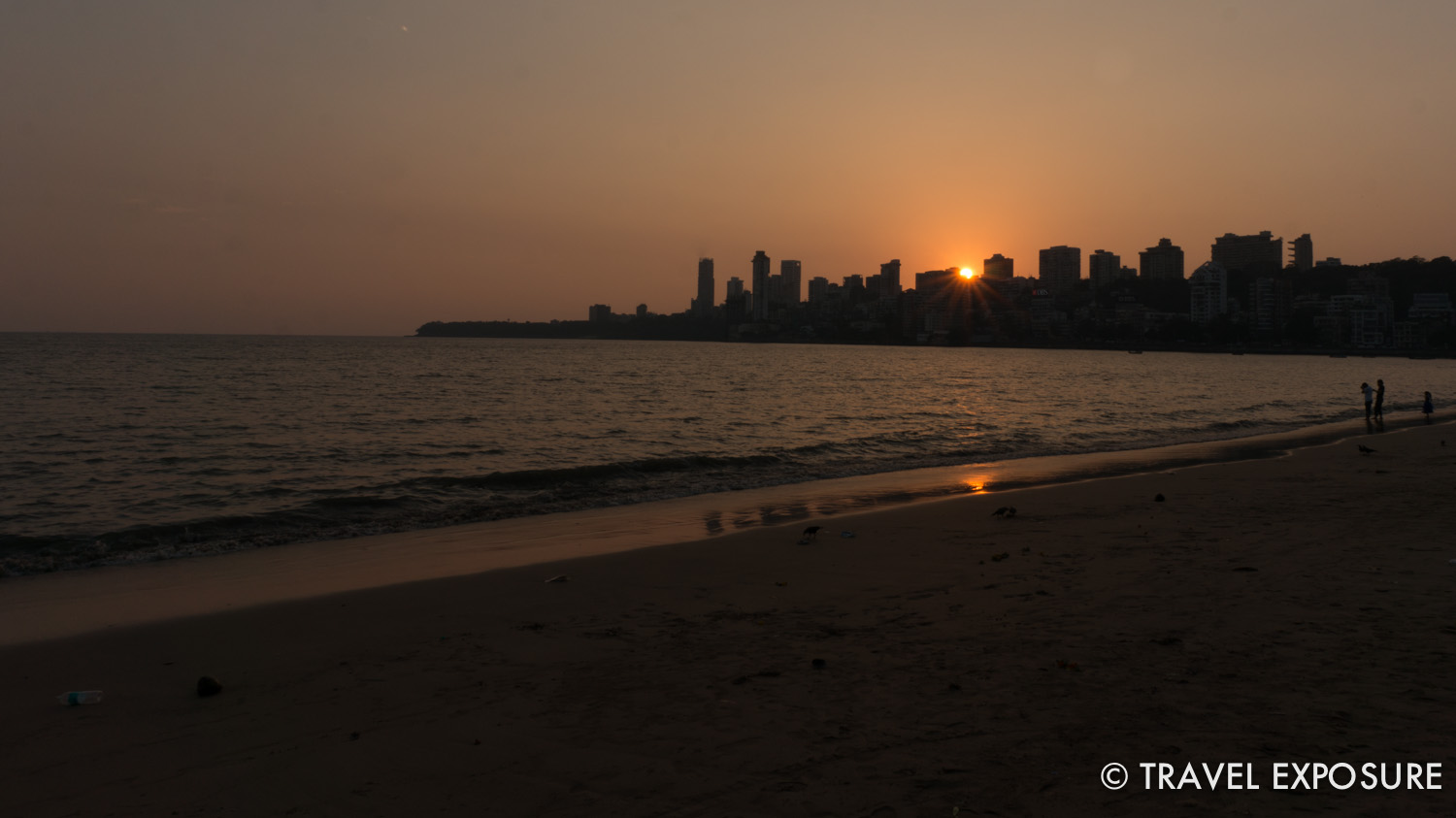 Sunset at Chowpatty Beach in Mumbai