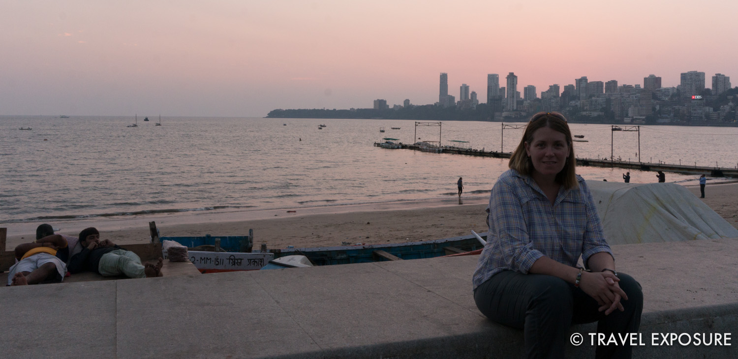 Walking along Marine Drive in Mumbai