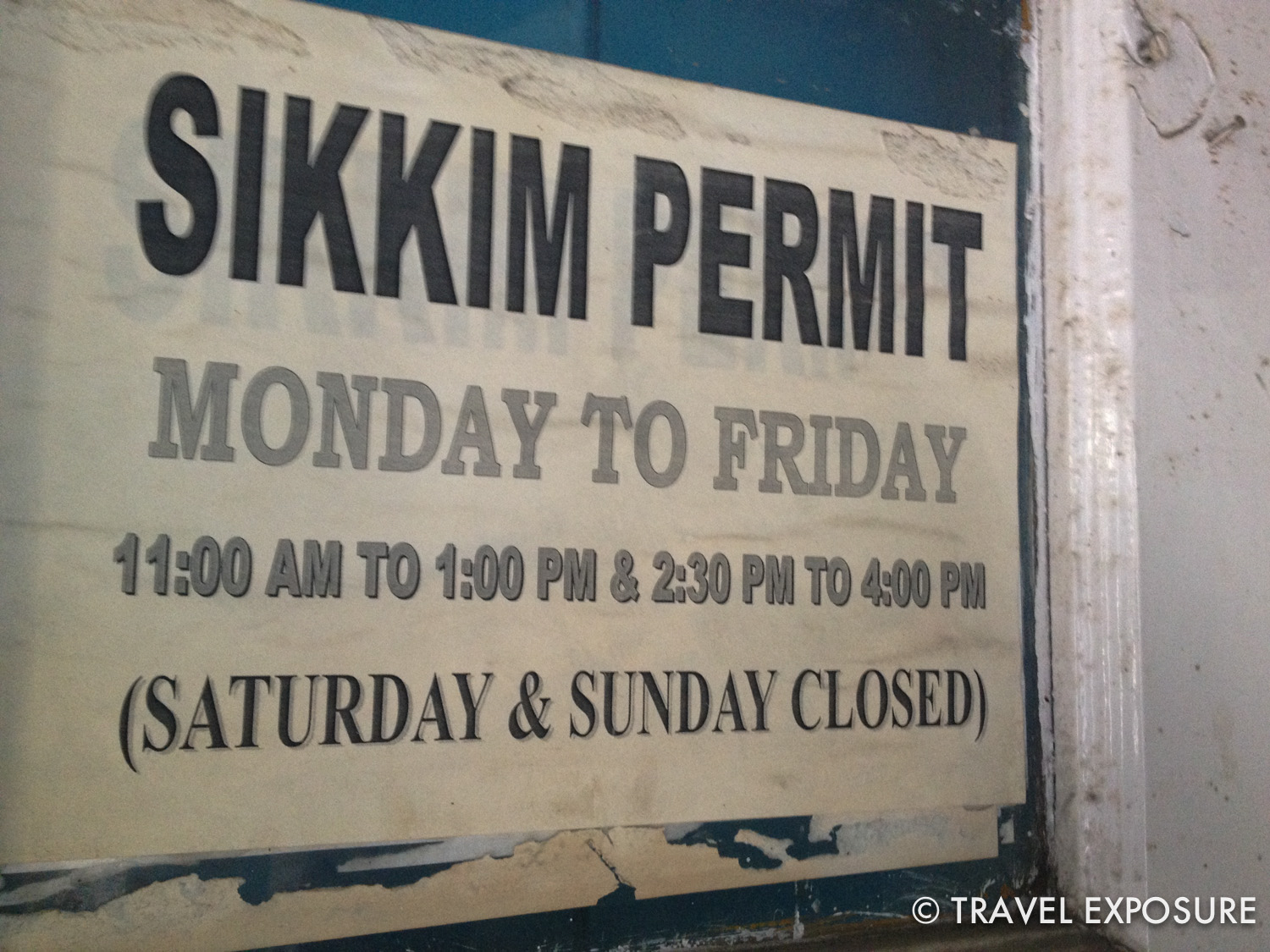 It was an entire ordeal to get our permit to visit Sikkim that included a 30 minute walk from where we submitted our paperwork to getting our stamp at this place. Note the convenient hours it's open.