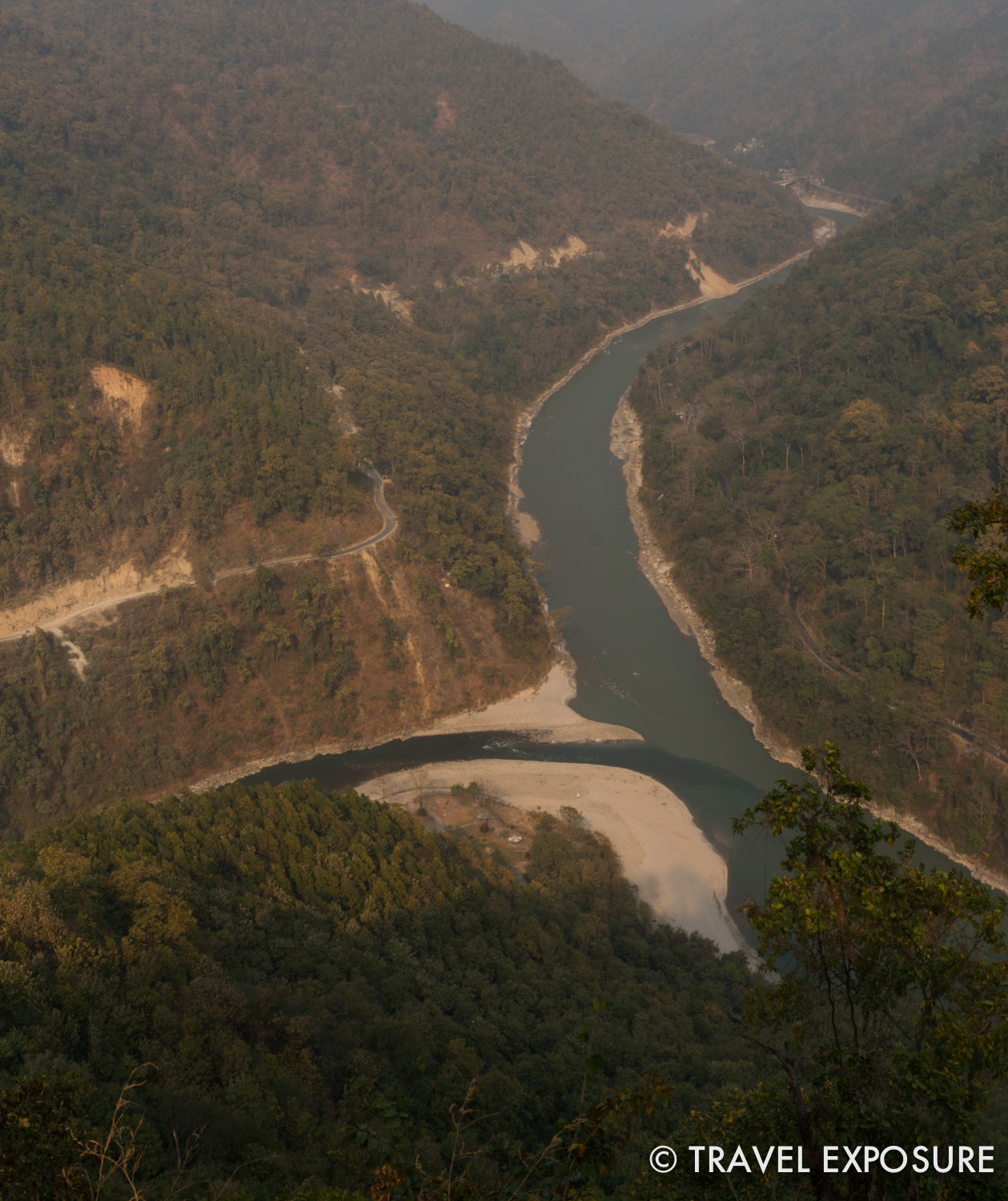 The meeting of the river Rangeet and the river Teesta on the way to Sikkim
