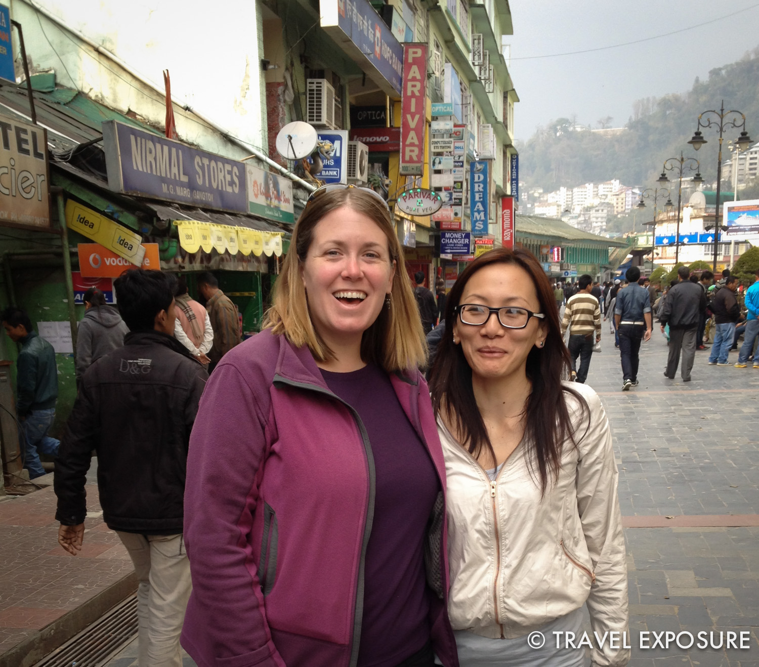 Beth and Chiphel in downtown Gangtok, Sikkim