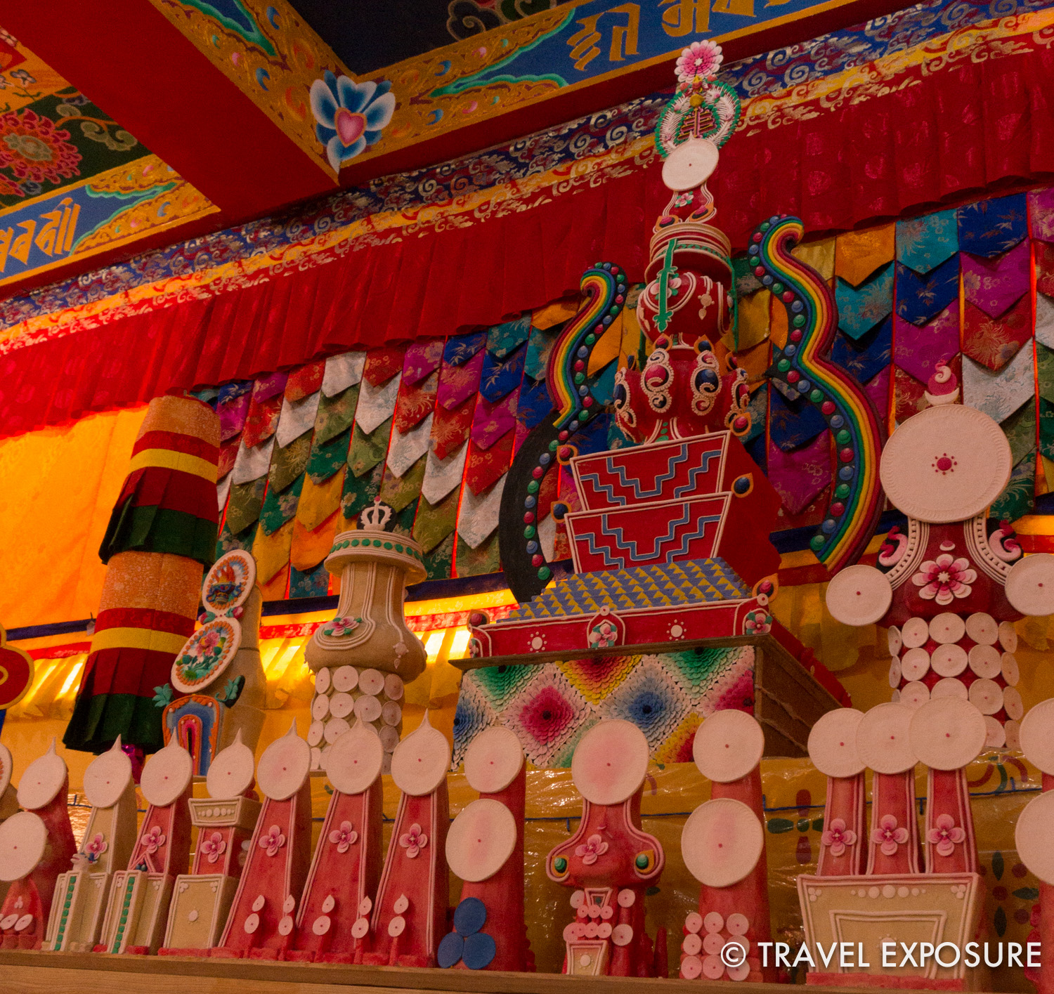 Tormas, colored sculptures made of Yak butter, inside Samdruptse Temple in Namchi, Sikkim