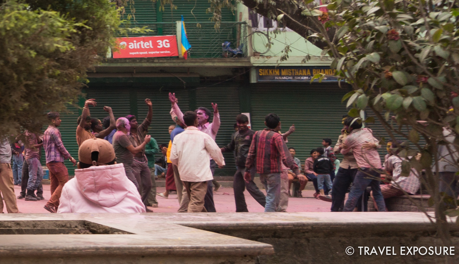 Locals celebrating the festival Holi, in Sikkim